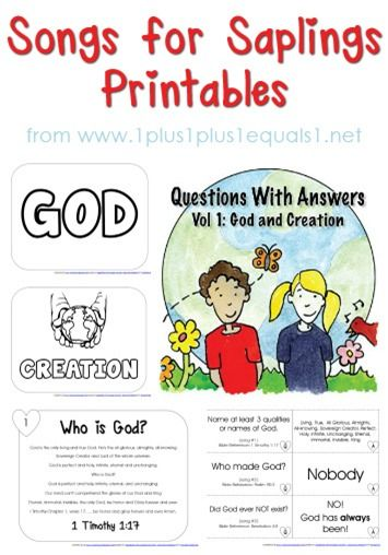 {Songs for Saplings} Questions with Answers Volume 1 ~ Creation and God {free} Printables!