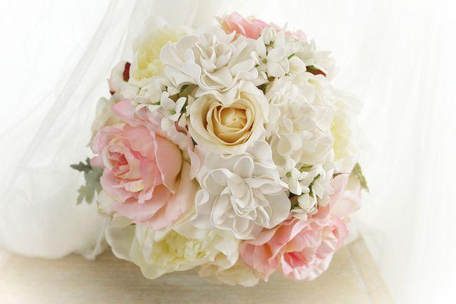 Sabine's bridesmaid's bouquet peonies, roses, gardenias, stephanotis and dusty miller