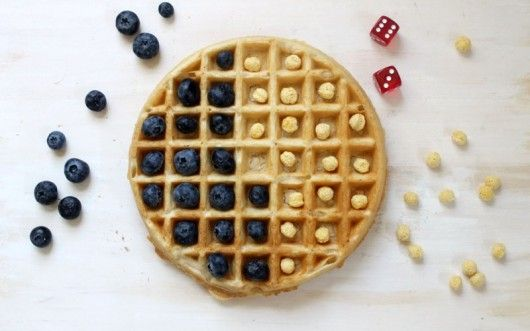 Breakfast fun for kids! Four waffle games.  Visit pinterest.com/arktherapeutic for more fun food and #feedingtherapy ideas