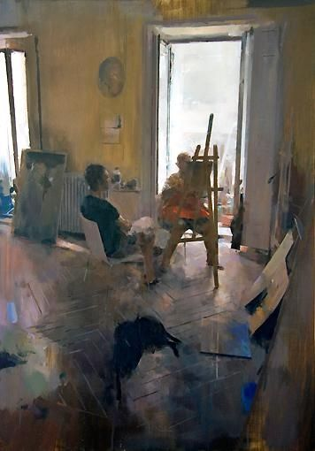 Carlos San MillanEn el estudio de A.Oil on panel , 116x by 81 cm