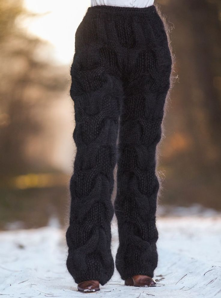 SUPERTANYA black mohair pants THICK trousers hand knitted soft fuzzy leg warmers #SuperTanya #Casual