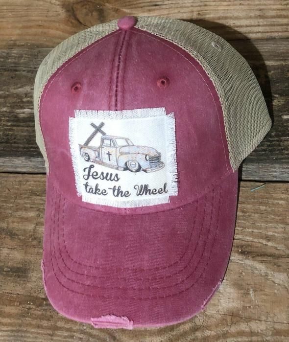 Jesus Take The Wheel Vintage Distressed Trucker Hat Handmade Patch With Truck And Cross In 2020 Handmade Patch Trucker Hats