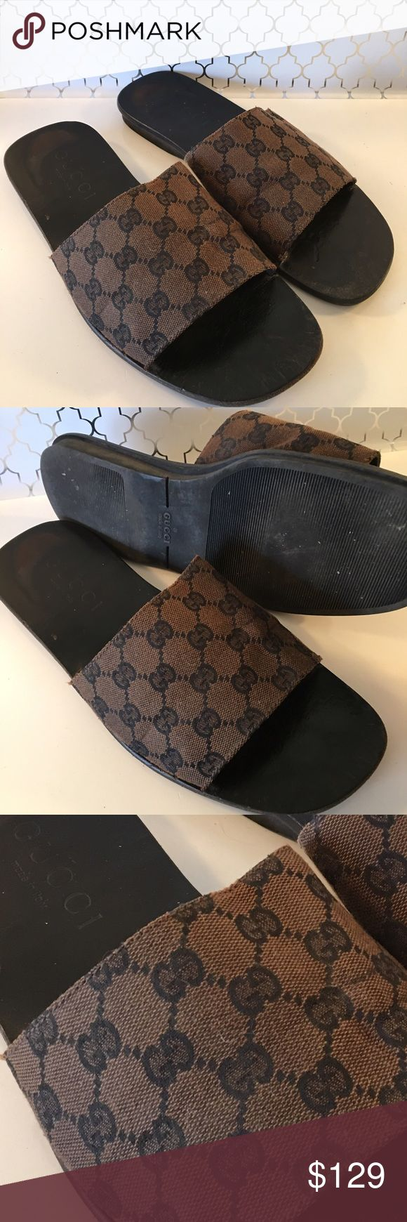 ⭐️GUCCI MENS SANDALS  AUTHENTIC GUCCI MENS SANDALS 100% AUTHENTIC. HIGH END ITALIAN STYLE IN THESE GUCCI SANDALS. VERY STYLISH . USED CONDITION. SIZE 42.5 WHICH IS A SIZE 9.5 Gucci Shoes Sandals & Flip-Flops
