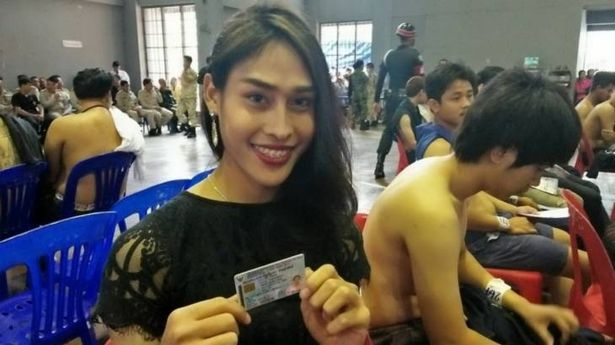 Transgender Thai 'ladyboys' cause a stir after turning up for Army conscription wearing skirts and make-up - Mirror Online