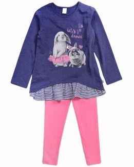 Комплект Crockid с зайчиками сине-розовый