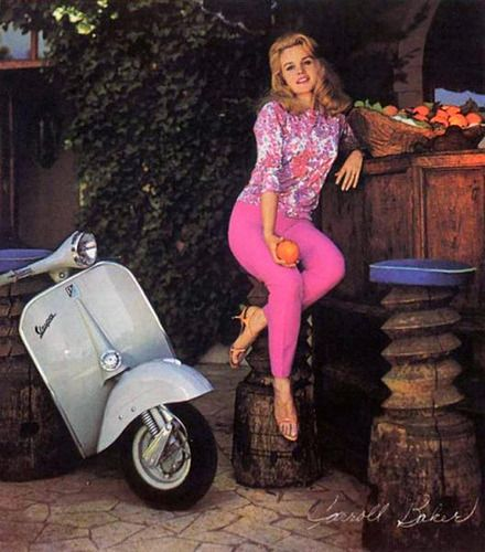 Ann Margaret needs to learn how to properly park a scooter (Vespa ad, 1960s)