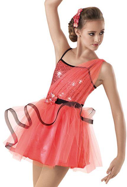 Weissman™ | Tulle Crinoline Trim Skirt Dress  Would be super cute for a cute junior jazz