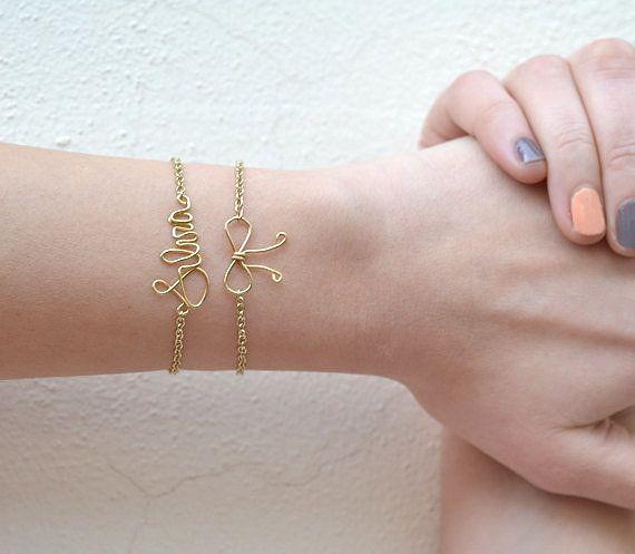 Name Bracelets: Anyone would love this delicate, DIY name bracelet. Source: Etsy user Bornin82