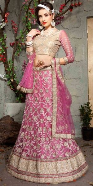 Unique Pink Net Lehenga Choli.