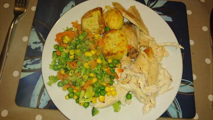 Roast Chicken with SW Roast Potatoes and mixed veg.