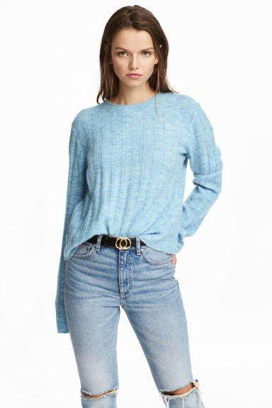 Sweter o splocie w prążki - Jasnoniebieski melanż - ONA | H&M PL 1
