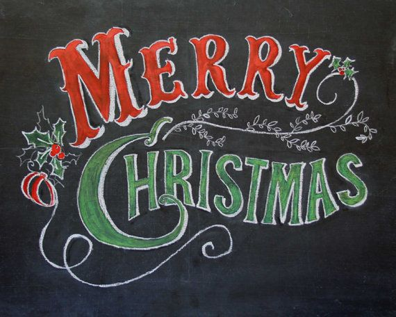 Merry Christmas chalkboard art print - Hand drawn - 8 x 10, 11 x 14, 18 x 24, red and green - holly and ribbons