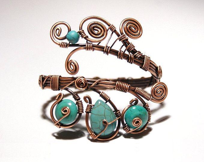 turquesa pulsera alambre envuelve joyería joyería hecha a mano de cobre hecho a mano cobre cobre Joyería Turquesa brazalete pulsera