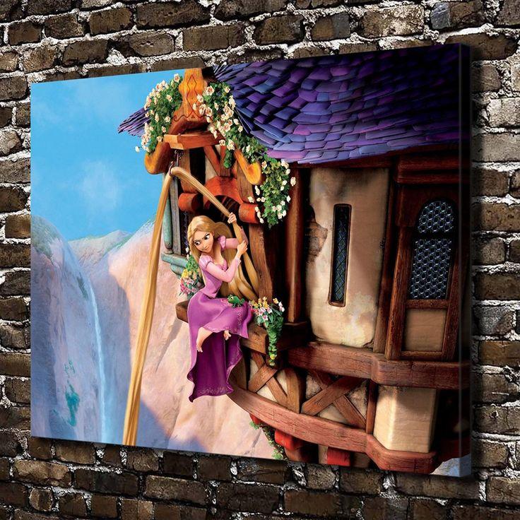 C0067 Длинные волосы принцессы Детей Мультфильм Фильмы, HD Печать Холст украшения Дома Гостиная Стены спальни фотографии Художественная роспись