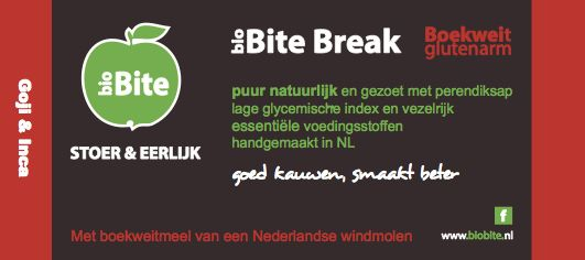 Biobite Break, gluten-arm, 99gram, lage glycemische index, perendiksap, haver, goji, incabessen, goede vetten, amandelen, hazelnoten