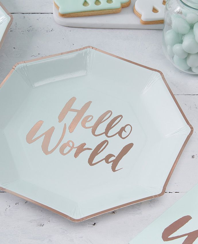 Planning a baby shower? Discover our beautiful Hello World baby shower plates and the rest of our baby shower supplies at partydelights.co.uk!
