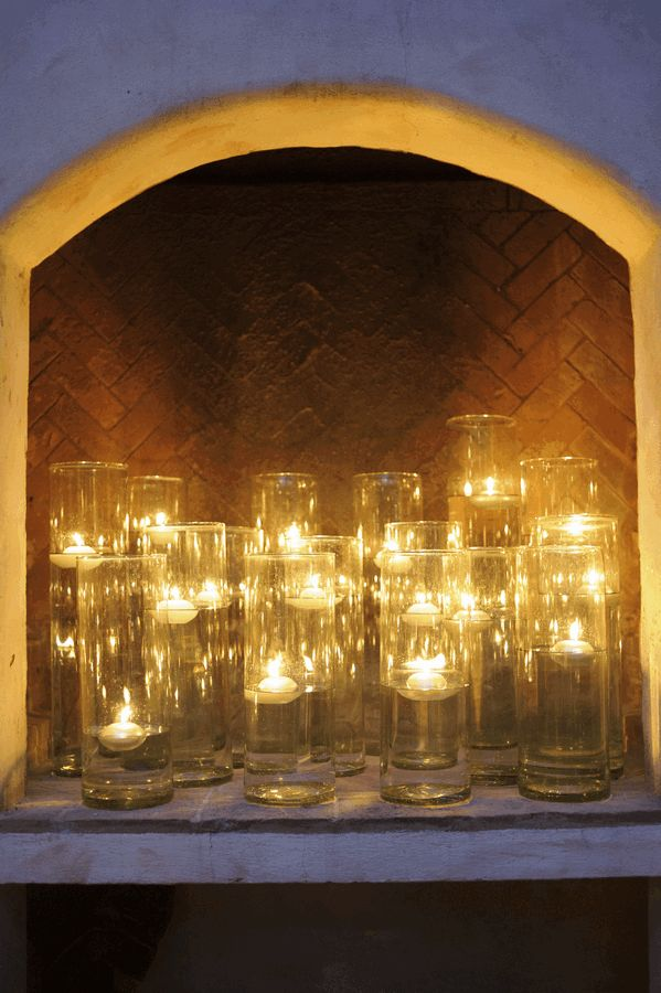Candles In A Fireplace floating candles in the fireplace - www.thedazzlingdetails