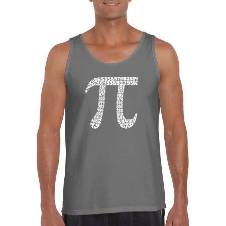 Los Angeles Pop Art Men's Tank Top - The First 100 Digits Of Pi, Size: Medium, Gray