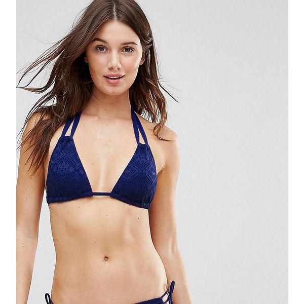 Dorina Exclusive Navy Triangle Crochet Bikini Top ($19) ❤ liked on Polyvore featuring swimwear, bikinis, bikini tops, navy, halter bikini, swim wear, halter swim top, triangle bikinis and crochet bikini top
