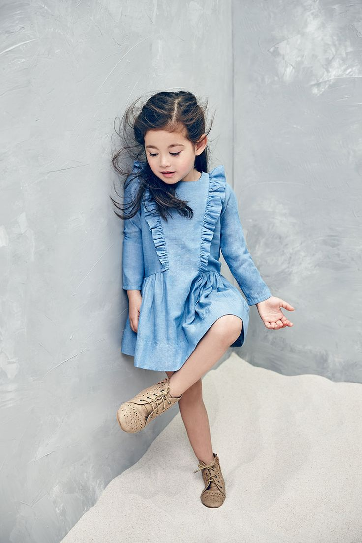 little girl cotton dress with ruffle side seam detail in Denim - by Nellystella