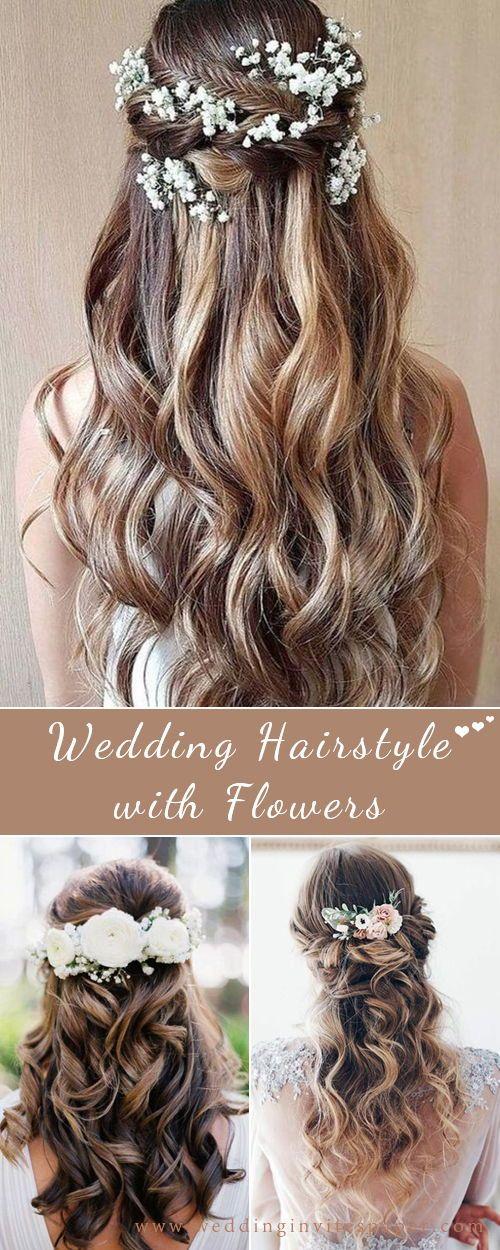 46 unvergessliche Hochzeitsfrisuren für langes Haar 2019 --- elegante halb hoch halb runter Hochzeitsfrisur mit Blumen, Frühling und Sommer Landhochzeit, ...