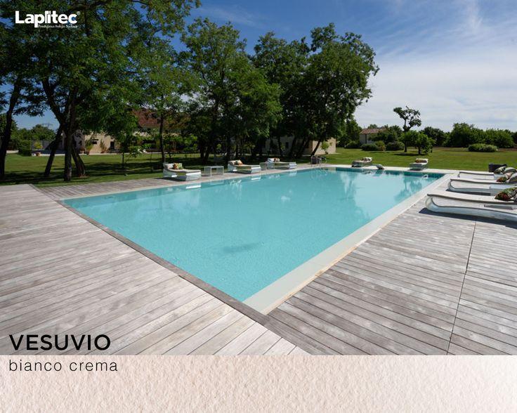 Still dreaming of pool days. This pool coping uses Lapitec® Vesuvio in Bianco Crema.