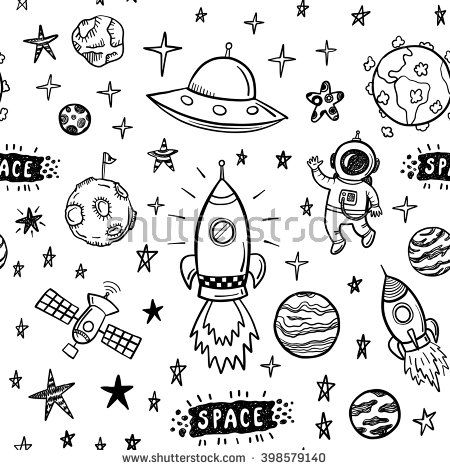 Vector Doodle Space Seamless Pattern  Tattoo Pinterest