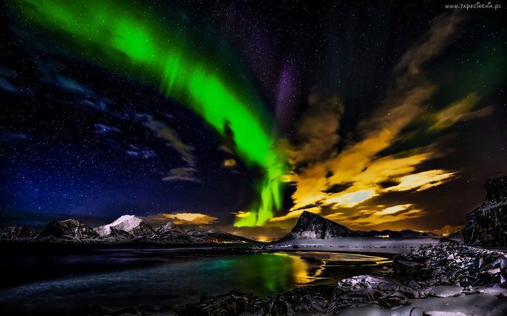 Norwegia, Zorza Polarna, Góry, Jezioro, Noc
