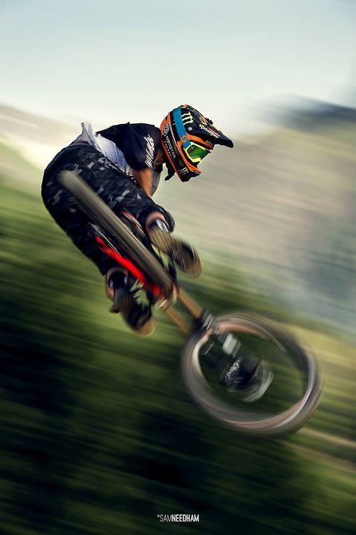 Brendog Fairclough. Fast speeding mountain bike trick. Bike tricks from mountain bike professionals