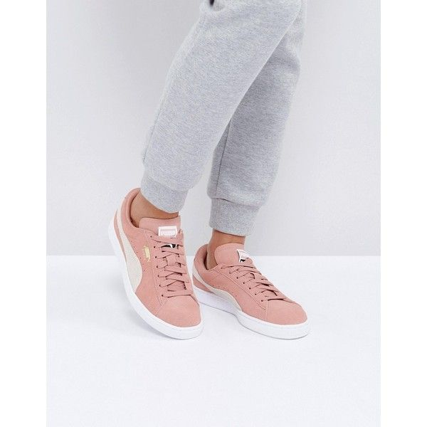 Puma Suede Classic Sneakers In Pink ($95) ❤ liked on Polyvore featuring shoes, sneakers, pink, lace up shoes, pink shoes, sports shoes, laced shoes and puma shoes