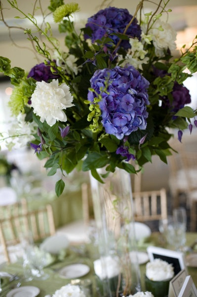 Green and purple centerpiece