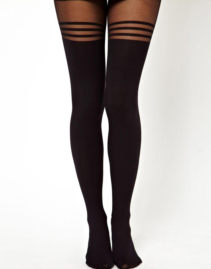 Strumpf/Sockengre 40-42 Damenstrumpfhosen mit Streifen