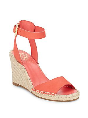 VINCE CAMUTO TAGGER NUBUCK ESPADRILLE WEDGE SANDALS. #vincecamuto #shoes #