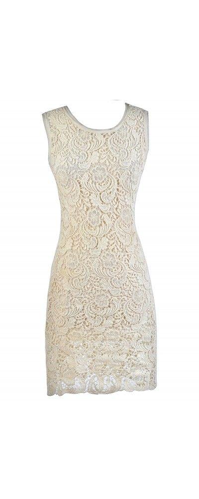Lily Boutique Keep A  Secret Crochet Lace Midi Dress, $48 Beige Lace Midi Dress…