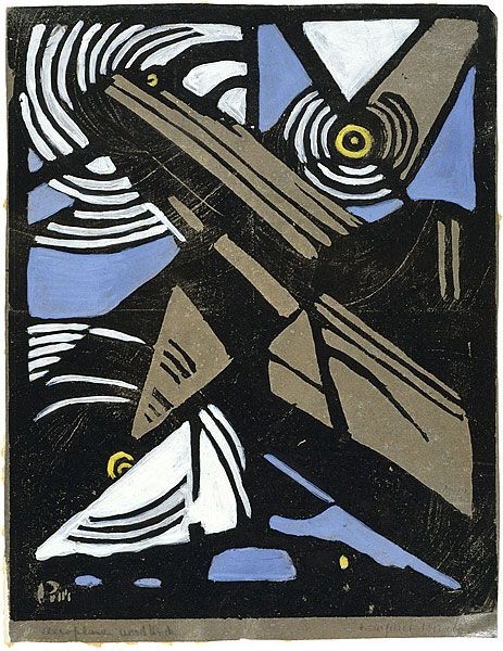 Margaret Preston (1875–1963) The Aeroplane. 1925  Woodcut, printed in black ink, from one block; hand-coloured  24.0 x 19.0 cm (printed image)