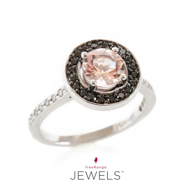 The focus of my attention and object of my affection... An 18ct white gold ring with a morganite center stone + a pavé halo of black diamonds.  Just pure love.♡ Shop www.freerangejewels.co.za