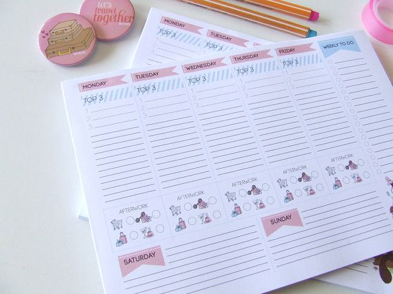 Weekly Planner Notepad  To do List  Desk Pad  by NutsforPaper