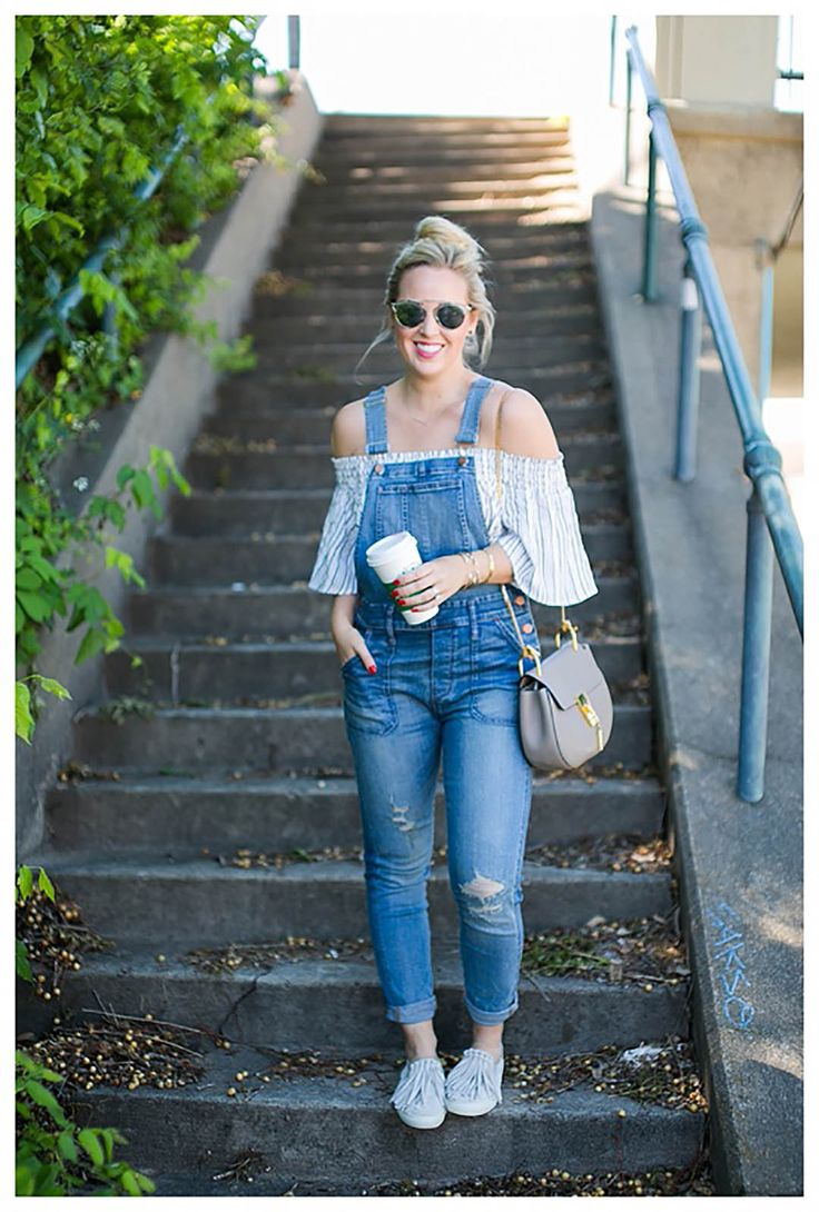 beingbe wearing Madewell Overalls with an Off the Shoulder top From Urban Outfitter paired with Tory Burch Fringe Sneakers and Dior sunglasses