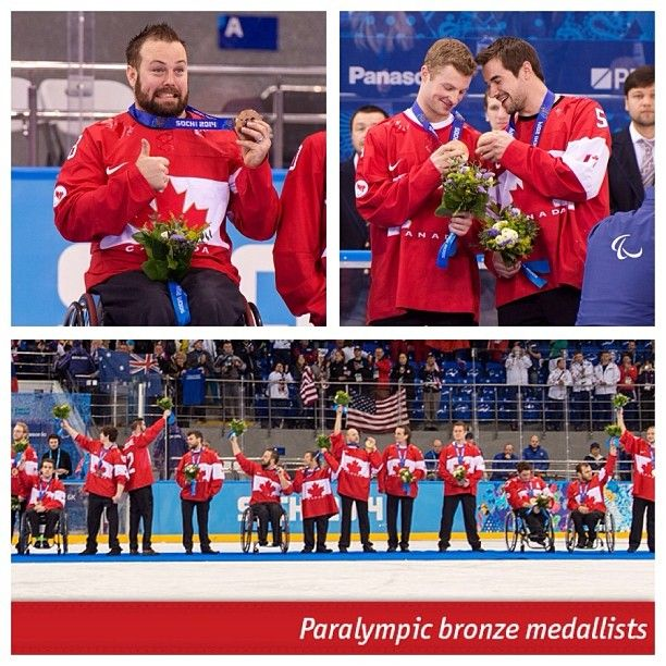 Paralympic bronze for Canada's sledge hockey team. The smiles say it all!