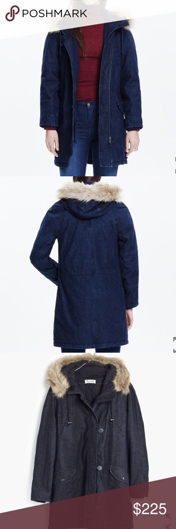 •nwt• Madewell denim parka NWT Gorgeous and thick denim parka by madewell. Faux fur lining on the hood. Both zippers and buttons. Madewell Jackets & Coats