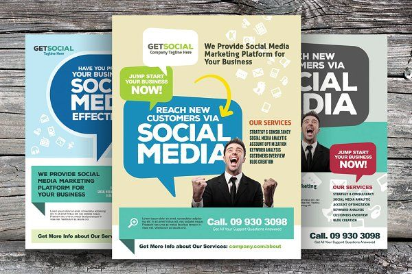 Social Media Marketing Flyers by kinzi21 on @creativemarket