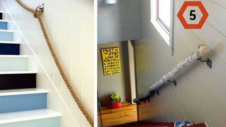 rambardes escaliers originales tronc arbre corde
