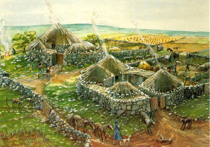 Reconstruction of the Iron Age Chysauster Ancient Village some 2,000 years ago by Judith Dobie