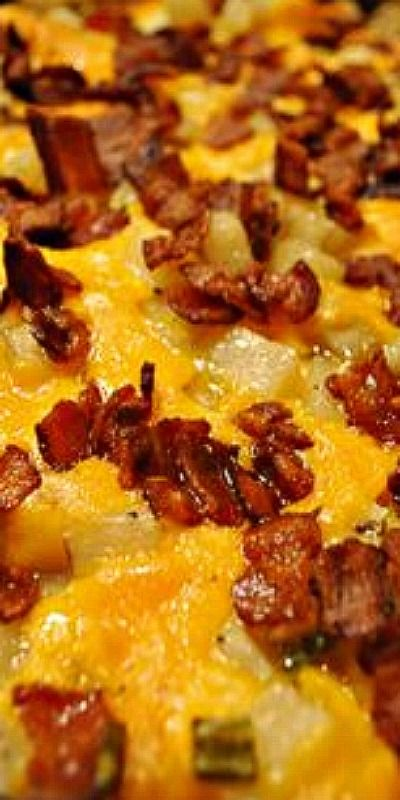 Mississippi Mud Cheesy Potatoes with Bacon ~ Easy and delicious