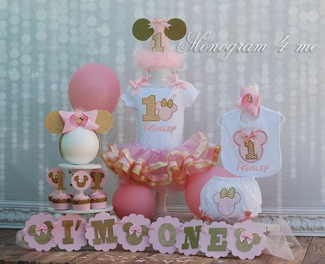 Baby Minnie Mouse Pink and Gold Tutu set by monogram4me on Etsy https://www.etsy.com/listing/217614650/baby-minnie-mouse-pink-and-gold-tutu-set