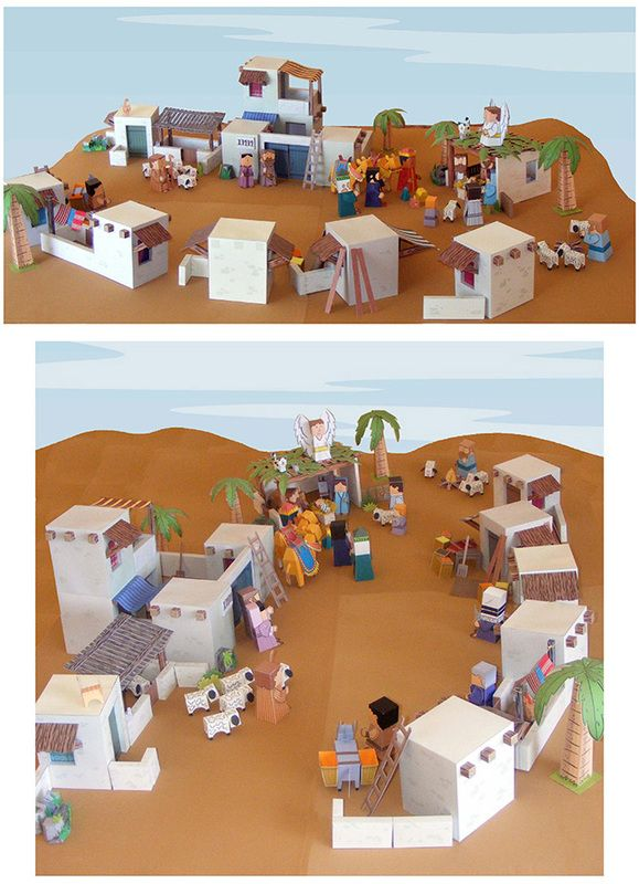Free printable download of a town in Bible times.  Great project to add to family worship night.