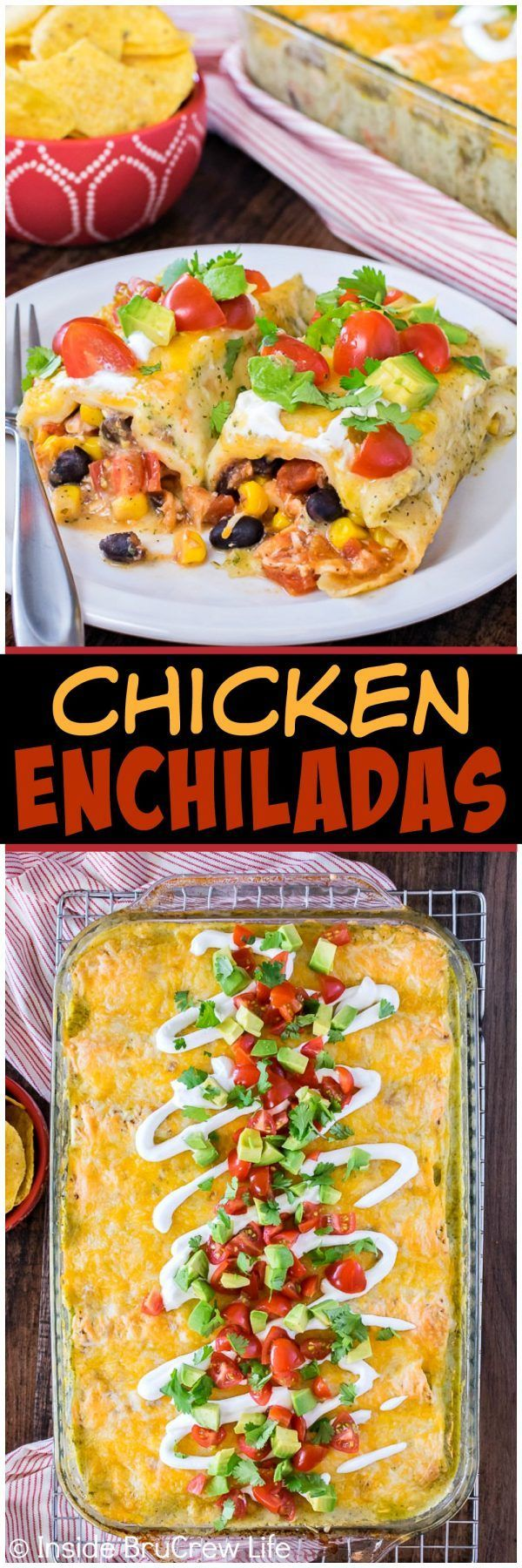 Chicken Enchiladas - these easy tortillas are loaded with beans, veggies, and meat. Great recipe for busy nights!