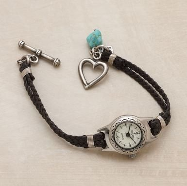 """DIY from one of those old watch fases - braided brown Italian leather band kissed with a sterling silver heart toggle clasp and turquoise nugget. 7-1/2""""L"""