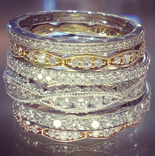 Tacori stackable wedding rings in rose gold, yellow gold, and white gold. See the post at http://tulleandtwine.com/2013/10/8/trend-worth-trying-stackable-wedding-bands