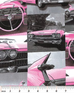 On The Road Again - Pink Cadillacs - Benartex Fabrics - Cotton